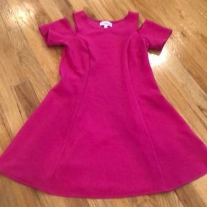 nickie lew Dresses - Hot pink short sleeve dress with cold shoulder